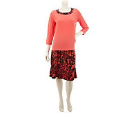 Susan Graver Liquid Knit 3/4 Sleeve Top and Printed Skirt - A231964