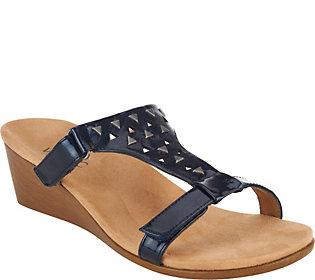 Vionic Orthotic Adj. T-Strap Wedge Sandals - Maggie