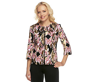 Joan Rivers Embellished Ikat Print Jacket with 3/4 Sleeves