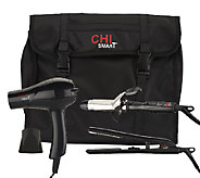 CHI Smart Travel Dryer, Styling Iron & Curling Iron w/Travel Bag - A254564