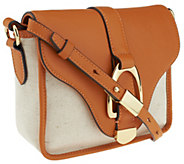 As Is G.I.L.I. Canvas and Leather Crossbody Bag - A261364