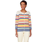 Liz Claiborne New York Multi Stripe 3/4 Sleeve Cardigan - A262964