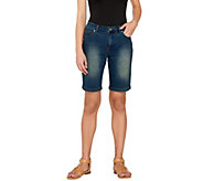 Women with Control Washed Denim Bermuda Shorts - A264864