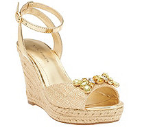 Marc Fisher Ankle Strap Wedges w/ Jewels - Elia - A265264