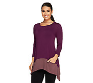 As Is LOGO by Lori Goldstein Knit Top with Contrast Hem & Pockets - A265664