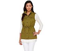 Liz Claiborne New York Snap Front Vest with Eyelet Details - A266164