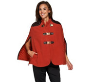 G.I.L.I. Buckle Front Cape with Faux Leather Trim