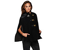 G.I.L.I Buckle Front Cape with Faux Leather Trim - A269864