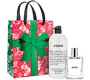 philosophy 32 oz amen shower gel & 4 oz edt duo w/ holiday bag - A273164