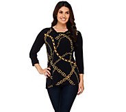 Susan Graver Printed Liquid Knit 3/4 Sleeve Top with Solid Sleeves - A273464