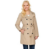 Liz Claiborne New York Double Breasted Trench Coat with Quilting - A273564
