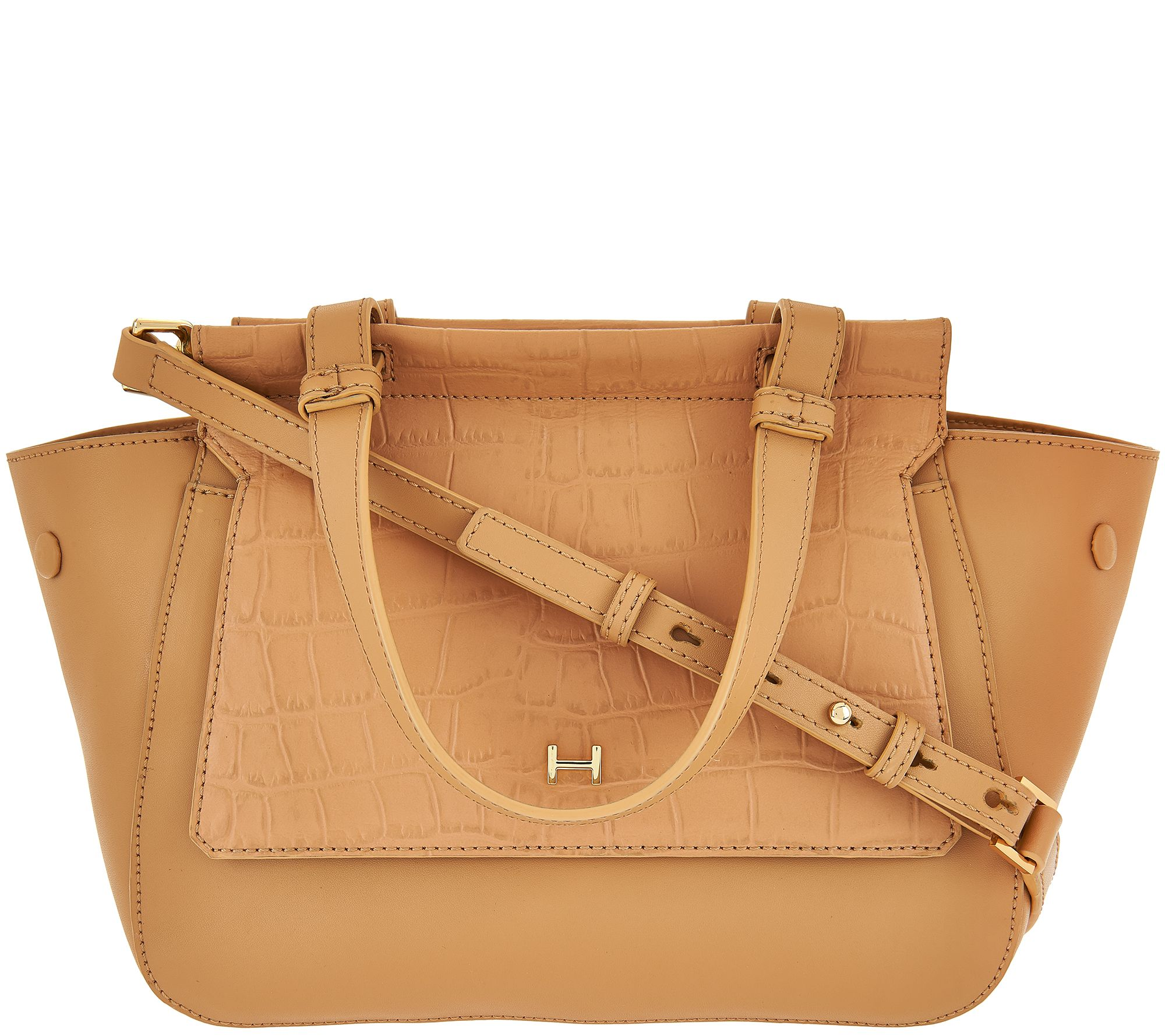 H by Halston Crossbody Satchel with Croco Embossed Flap - A274064