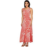 As Is George Simonton Printed Maxi Dress w/ Solid Mesh Godets - A277064