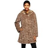 As Is Dennis Basso Sculpted Faux Fur Swing Coat w/ Faux Fur Collar - A277764