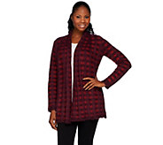 As Is Isaac Mizrahi Live! Textured Plaid Sweater Coat - A278964