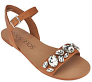 As Is Sole Society Leather Quarter Strap Sandals - Gemma - A279264