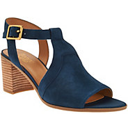 As Is Franco Sarto T-strap Sandals w/ Adj. Ankle Strap - Heron - A286364