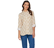 C. Wonder Bamboo Print Button Front Carrie Blouse - A287464