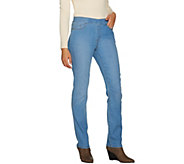 Susan Graver Petite Stretch Denim Straight Leg Pull-On Jeans - A297164