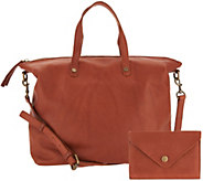 American Leather Co. Glove Leather Satchel Handbag w/ Accessory - A300964