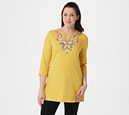 Denim & Co. Round Neck with Keyhole Embroidered 3/4 Sleeve Tunic - A304664
