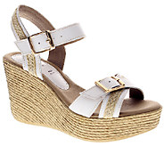 Azura by Spring Step Leather Wedge  Sandals - Frappe - A332164