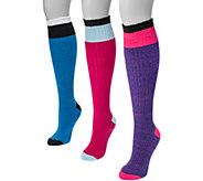 MUK LUKS Womens 3 Pair Pack Color Block Knee High Socks - A361464