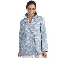 Liz CLaiborne New York Printed Canvas Double-Breasted Jacket