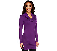 K-DASH by Kardashian Cowl Neck Long Sleeve Ruched Tunic - A227065