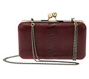 Nicole Richie Collection Lizard Embossed Leather Framed Clutch - A229565