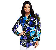 Susan Graver Crinkled Sheer Chiffon Button Front Long Sleeve Blouse - A231965