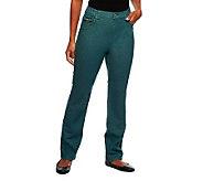 Denim & Co. How Classic 5-Pocket Straight Leg Jeans w/ Trim - A236565