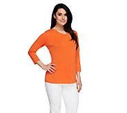 Susan Graver Essentials Liquid Knit V-Neck Top with 3/4 Sleeves - A254365
