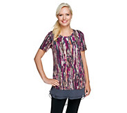 LOGO by Lori Goldstein Printed Cotton Modal Knit Top w/ Chiffon Trim - A254565