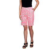 Susan Graver Printed Cotton Sateen Bermuda Shorts - A255365