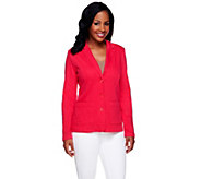 Isaac Mizrahi Live! Notch Collar Knit Denim Blazer - A255665