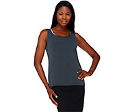 Susan Graver Liquid Knit Scoop Neck Tank with Velvet Trim - A259565