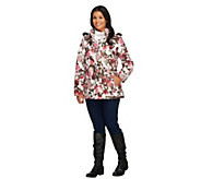 Dennis Basso Printed Puffer Jacket with Hood - A260665