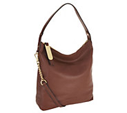 As Is Emma and Sophia Sydney Pebble Leather Zip Top Hobo - A261365