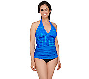 Spanx Printed Ruched Halter Tankini Swimsuit Top - A263565