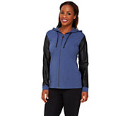 Linea Leisure by Louis DellOlio Zip Hoodie w/ Faux Leather Sleeves - A267865