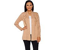 Bob Mackies Open Front Cardigan with Faux Leather Applique - A269565