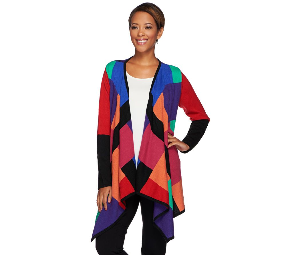 Attitudes by Renee Drape Front Color-Block Cardigan - A269765