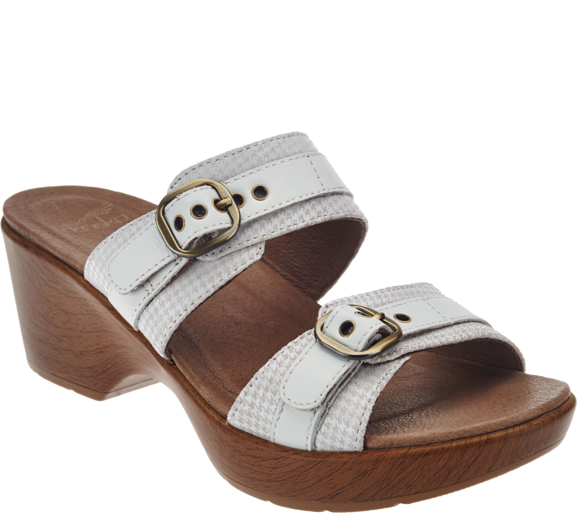 Dansko Leather Double Strap Sandals With Buckles Jessie A274365