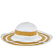 San Diego Hat Co. Striped Ribbon Sun Hat w/Chin Strap & UPF 50 - A274465