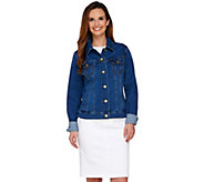 Isaac Mizrahi Live! TRUE DENIM Jean Jacket w/ Gingham Trim - A274765