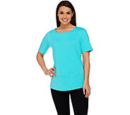 Denim & Co. Active Slub Knit Short Sleeve Top - A275265