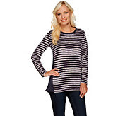 As Is LOGO by Lori Goldstein Sweater Knit Stripe Top with Side Godets - A275365