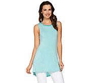 LOGO by Lori Goldstein Knit Tank with Twisted Woven Trim Neckline - A275765