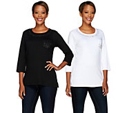 As Is Quacker Factory Set of 2 Be Jeweled 3/4 Sleeve T-Shirts - A278165